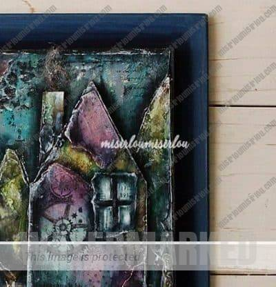 whimsical town art canvas